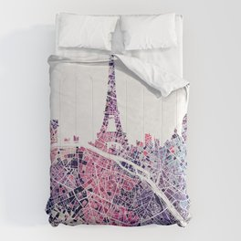 Paris Skyline + Map #1 Comforters