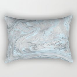 Ice Blue and Gray Marble Rectangular Pillow
