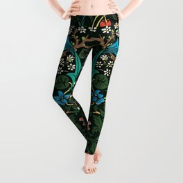 William Morris Tulips, Blue Columbine, Orchids, & Sunflowers Textile Flower Print Leggings