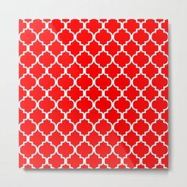 Moroccan Trellis (White & Red Pattern) Metal Print