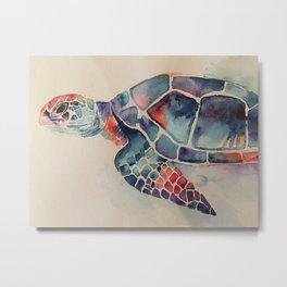 Watercolor sea turtle Metal Print