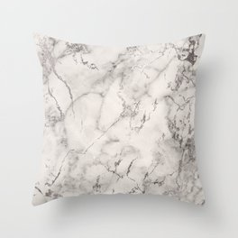 Modern Elegant Gray White Silver Foil Abstract Marble Throw Pillow