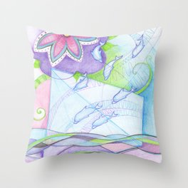 space dolphins Throw Pillow
