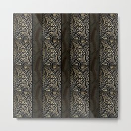 Linear Hawaiian Tapa Cloth Metal Print