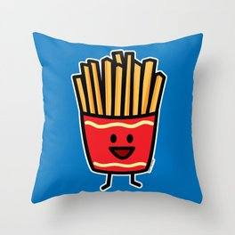 Happy French Fries potato frites fried junk food Throw Pillow