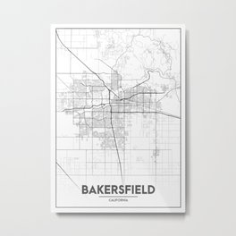 """Minimal City Maps - Map Of Bakersfield, California, United States Metal Print"