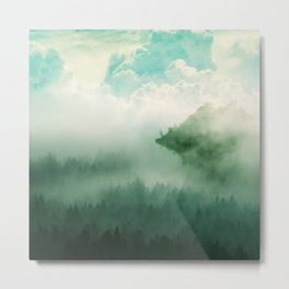 Mystical Forests - Forest tapestry, atmospheric tapestry, foggy forest, relaxing forest, green Metal Print