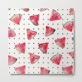 Watermelon Polka Dots Metal Print