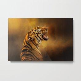 Growling Bengal Tiger - Wild Cat Art Metal Print