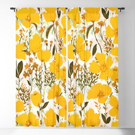 Yellow roaming wildflowers Blackout Curtain