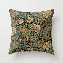 Pink Rose Paisley Floral Throw Pillow