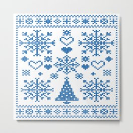 Christmas Cross Stitch Embroidery Sampler Teal And White Metal Print