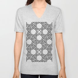 Entwined graphic Lines Home Design - black & white Unisex V-Neck