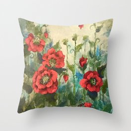 SK's Field of Poppies Throw Pillow