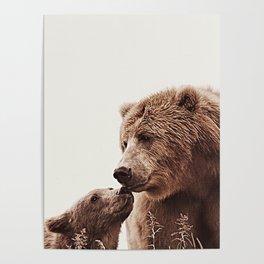 Woodlands Nursery Decor, Bear Mother Print, Baby Bear Print Poster