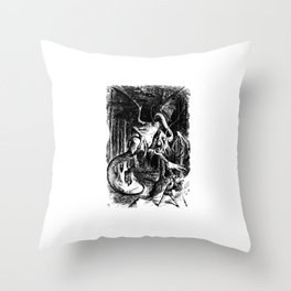 Jabberwocky Illustration from Alice in Wonderland Transparent Background Throw Pillow