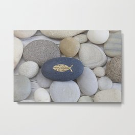 Mindful fish symbol on pebble Metal Print