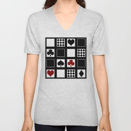 Casino, playing cards, suits of hearts, crosses, clubs Unisex V-Neck