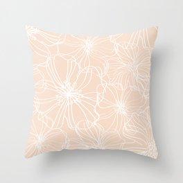 Line Art, Floral Prints, Blush and White, Minimalist Art Throw Pillow