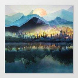 Mountain Lake Under Sunrise Canvas Print