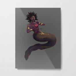 Eel Mermaid with Drink Metal Print