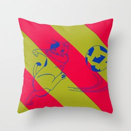Soccer Cat Throw Pillow