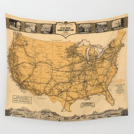 Greyhound Bus Line Map 1935 Wall Tapestry