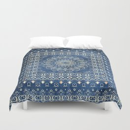 Old Bookshop Magic Mandala in Blue Duvet Cover