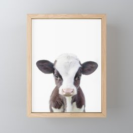 Baby Cow Portrait Framed Mini Art Print
