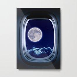 Airplane window with Moon, porthole #3 Metal Print