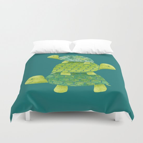 Turtle Stack Family in Teal and Lime Green by elephanttrunkstudio