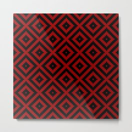 Red and Black ethnic tribal zig zag rhombus pattern Metal Print