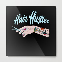 Hair Hustler Typeface Design With Scissors Metal Print