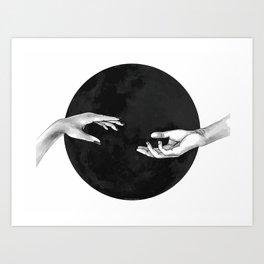 Lovers, hands on the black moon Art Print