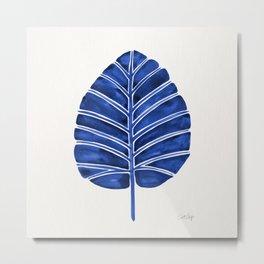 Elephant Ear Alocasia – Navy Palette Metal Print