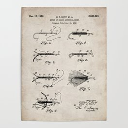 Fly Fishing Patent - Fisherman Art - Antique Poster