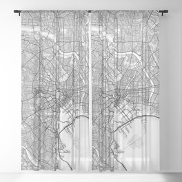 New York City Map of United States Sheer Curtain