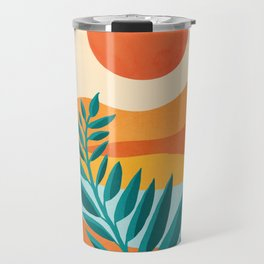 Mountain Sunset / Abstract Landscape Illustration Travel Mug