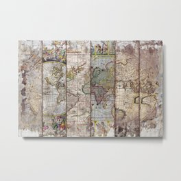 Old Times (World Map) 2 Metal Print