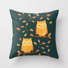 Cute Sleeping Owl Autumn Pattern Throw Pillow