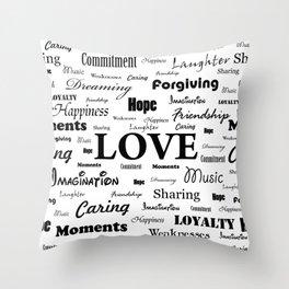 Love is White & Black Throw Pillow