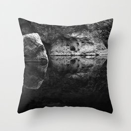 Boulder Reflection on Water Throw Pillow