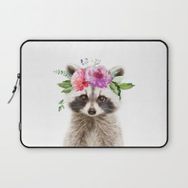 Baby Raccoon with Flower Crown Laptop Sleeve