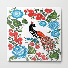 Peacock and flowers Metal Print
