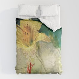 Yellow, Dew-Kissed Daylily Comforters