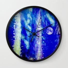 winter moon abstract digital painting Wall Clock
