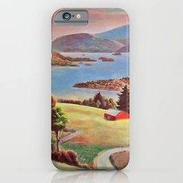 Lake George, Adirondack Mountains, New York pastoral landscape painting by Judson Smith iPhone Case