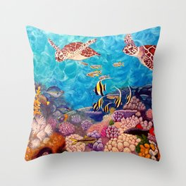 A Good Day for a Swim - Seaturtles in the reef Throw Pillow