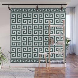 Greek Key (Dark Green & White Pattern) Wall Mural