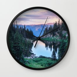 Hikers Bliss Perfect Scenic Nature View \ Mountain Lake Sunset Beautiful Backpacking Landscape Photo Wall Clock